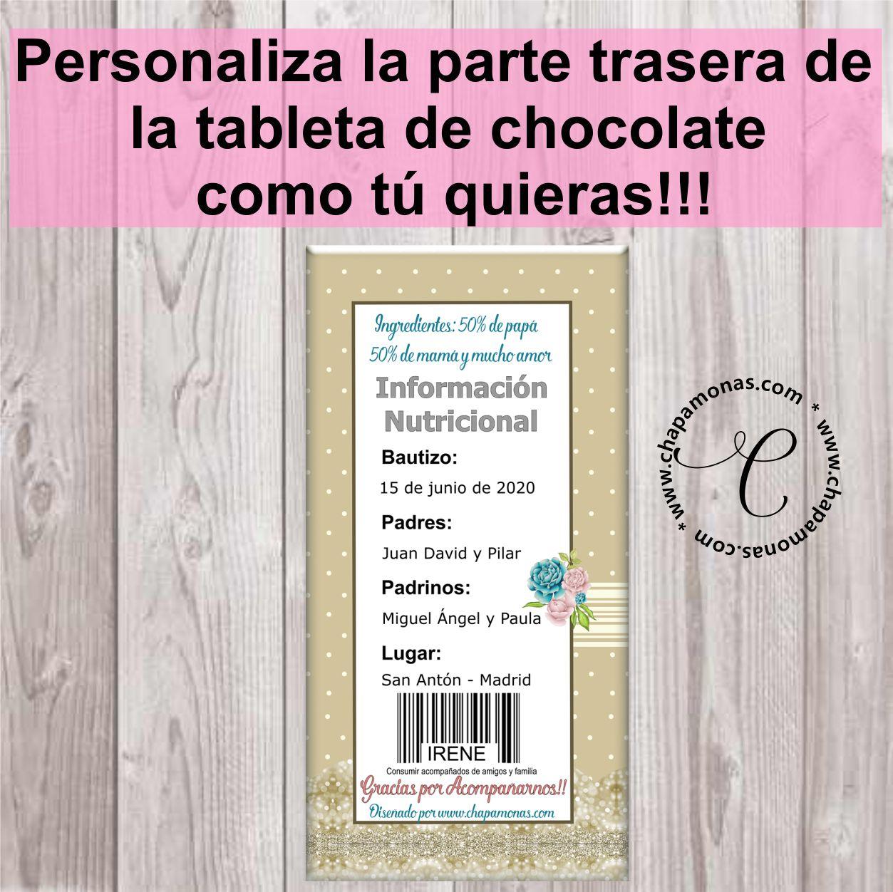 TABLETA DE CHOCOLATE BAUTIZO (Rubia y Morena)