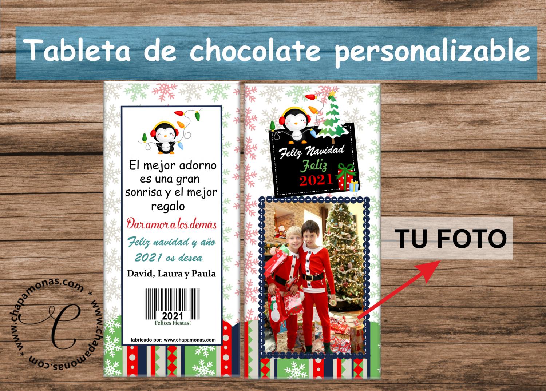 CHOCOLATE PARA NAVIDAD PERSONALIZADO (Con fotografía)
