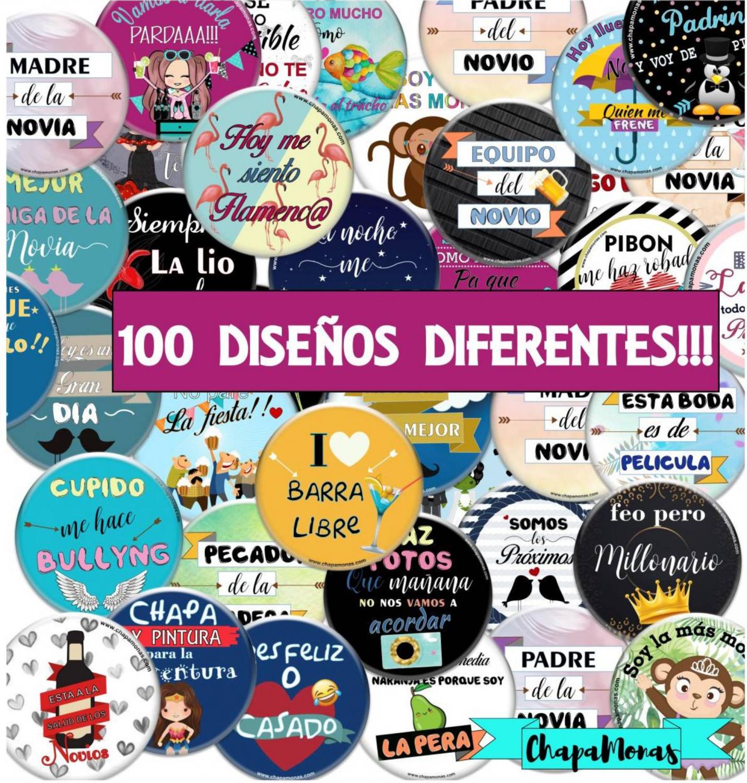 PACK BODA 100 CHAPAS + CAJA DE REGALO