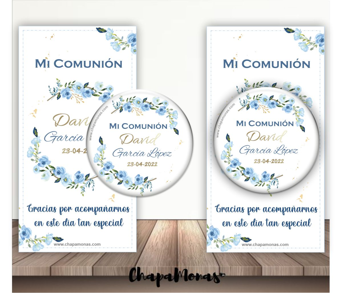 CHAPA PARA COMUNION FLORES (Iman, Abrebotellas, Espejitos..)