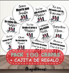 PACK 100 CHAPAS DE BODA Frases + Caja de regalo