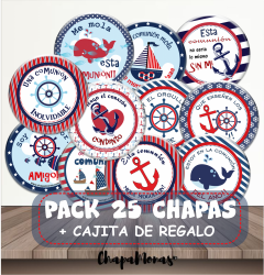 PACK COMUNIÓN MARINERO 25 CHAPAS DIVER