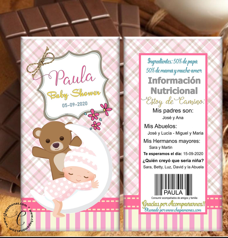 TABLETA DE CHOCOLATE BABY SHOWER