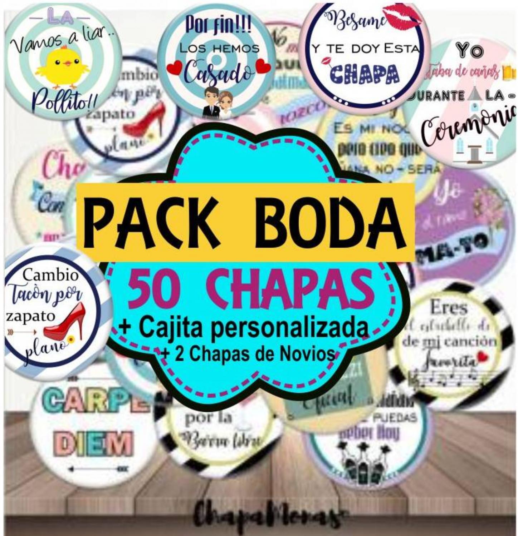 PACK BODA 50 CHAPAS + CAJA DE REGALO