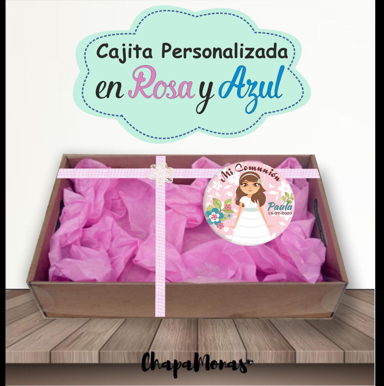 CAJITA PERSONALIZADA COMUNIÓN ( Rosa & Azul)